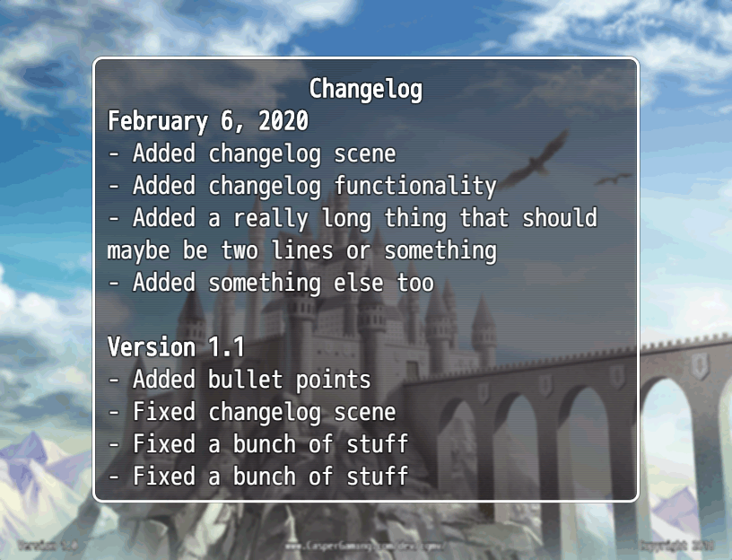 The changelog window showing some changes between versions