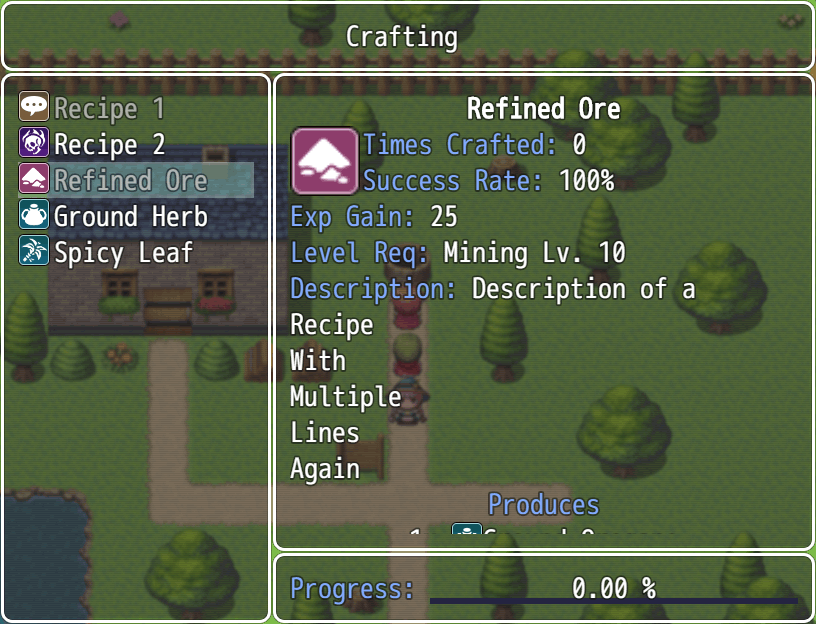 A crafting recipe which requires a profession level