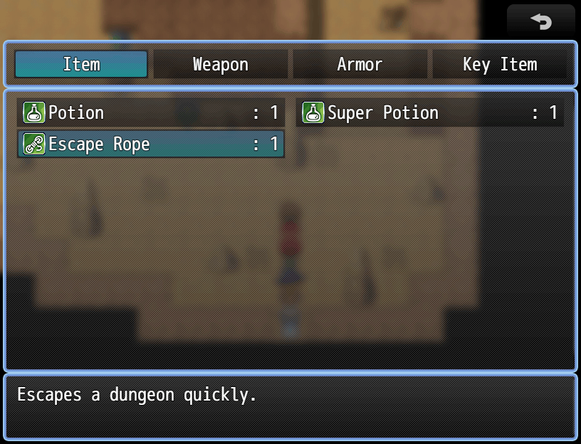 Escape rope item is now usable since I went into a dungeon